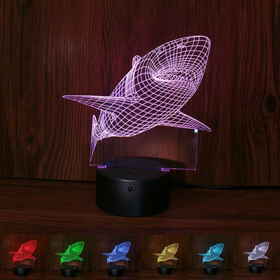 3D Shark Touch Visual Light Effect Lamp - Yosif Store