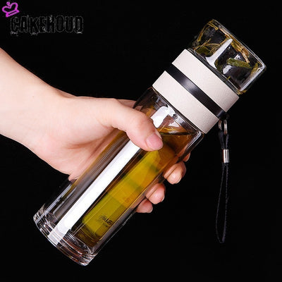 Creative Crystal Double Vacuum Bottle With Stainless Steel Tea Filter 450ml - Yosif Store