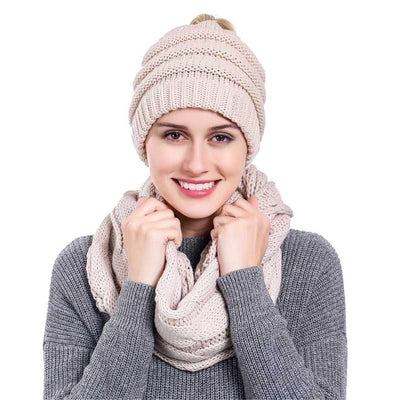 ponytail Beanies and Scarf Sets 2019 - Yosif Store