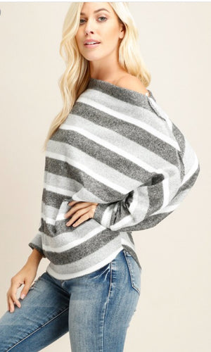 Gray Wide neck Top with Dolman Sleeves