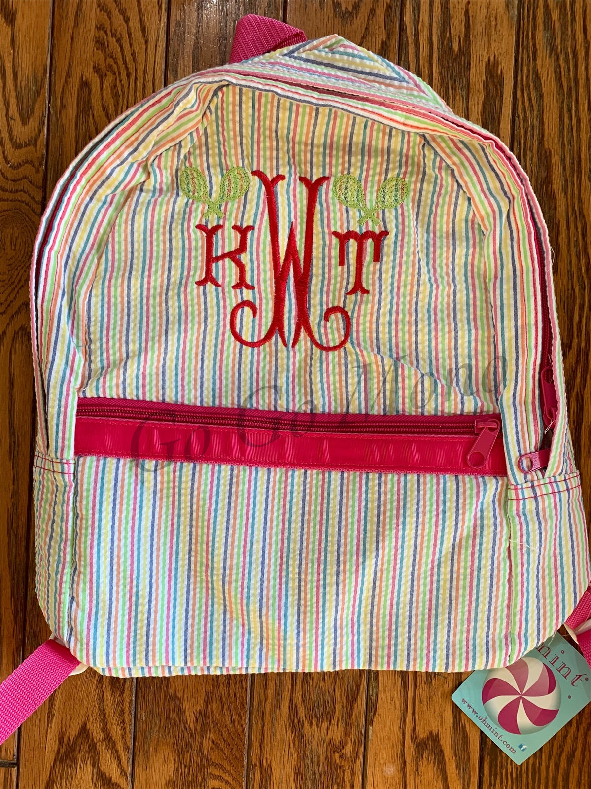 Medium Mint Brand Rainbow Seersucker Backpack
