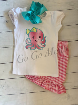Octopus Appliquéd  Children Shirt