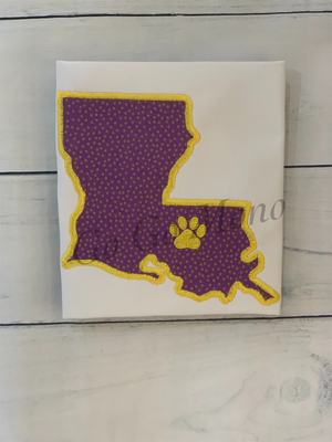 LSU appliqued Kitchen Towel