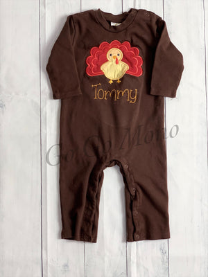 Long Sleeve Turkey Applique Romper