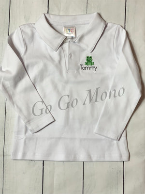 Personalized Collared Boys Shirt with frog