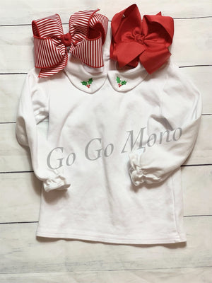 Christmas Peterpan Collar Shirt- Holly Shirt