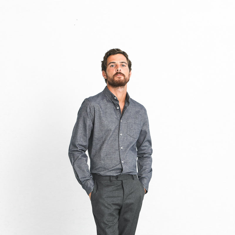 Chemise Classique Brushed Twill Bleue
