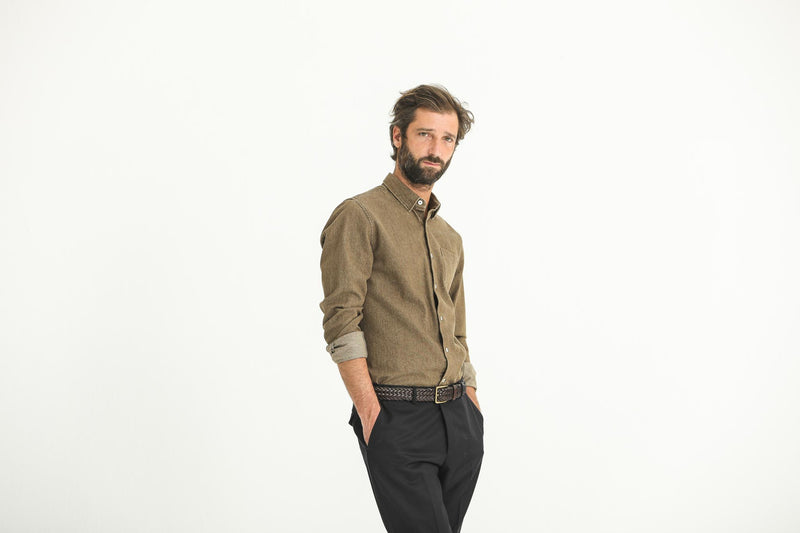 Chemise Denim Washed Camel