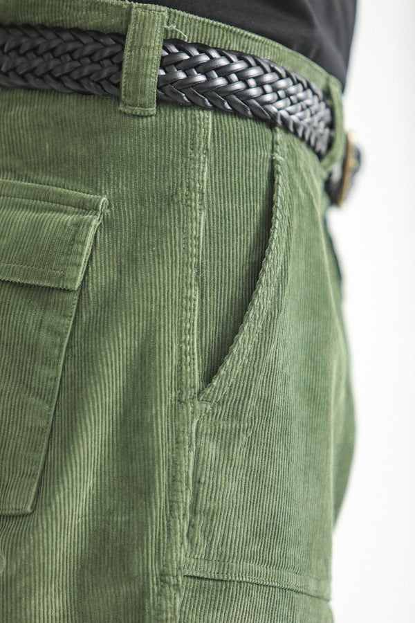 Fatigue Pants Dyed Velours Vert armée