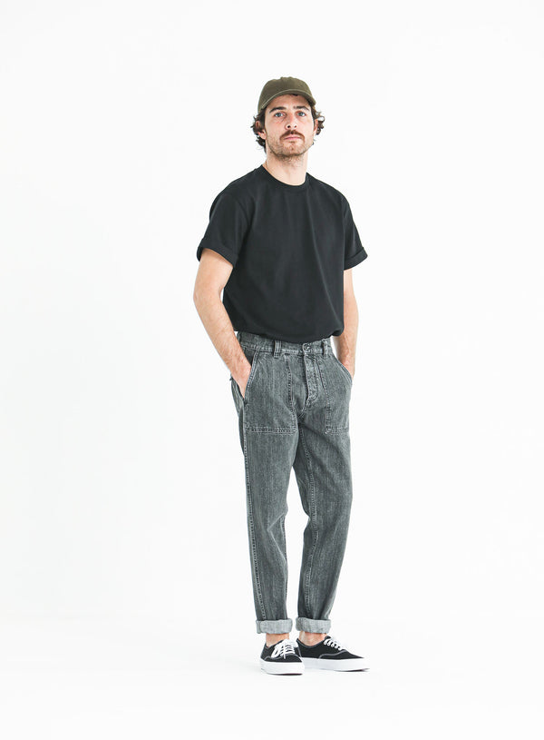 Fatigue Pants Denim Japonais Bleached gris