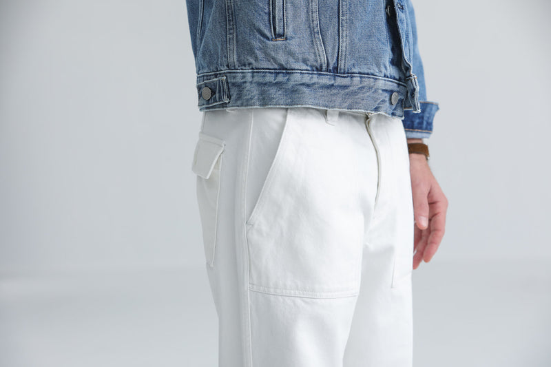 Fatigue Pants Denim Japonais Blanc