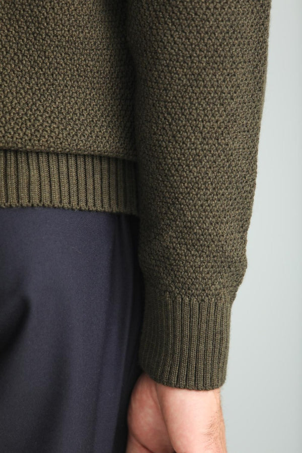 Pull Point de Riz Mérinos Khaki