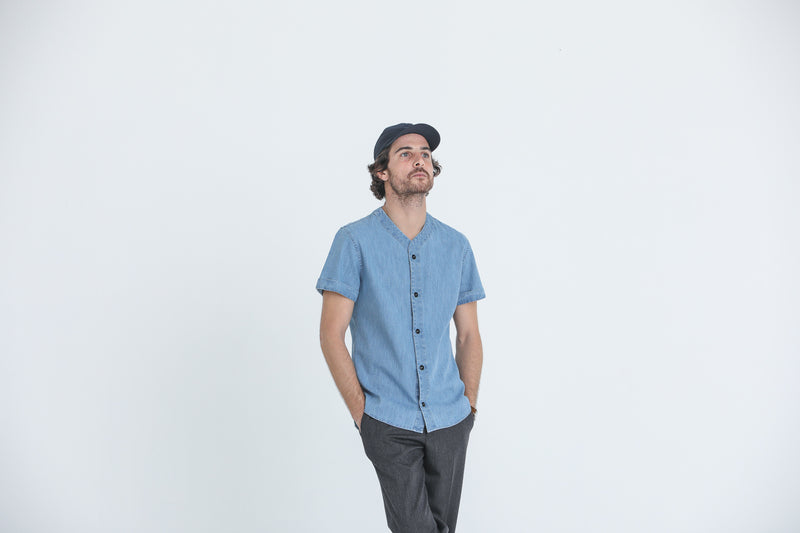 Chemise Baseball Japanese Denim Bleach