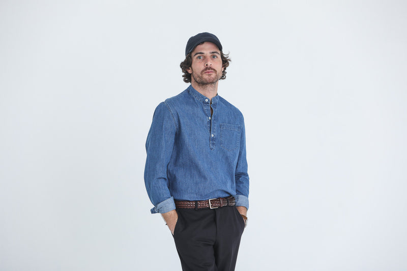 Chemise Popover Japanese Denim Stone Wash