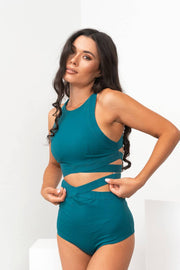 Teal Tara Lunalae high waist shorts