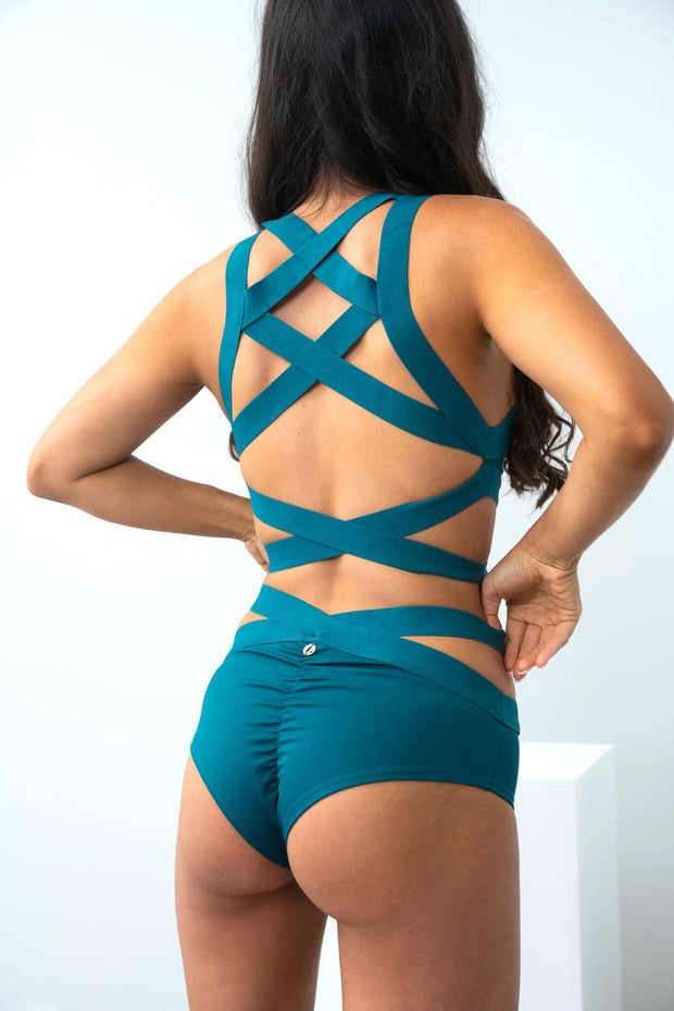 Lunalae Tara low waist shorts in Teal