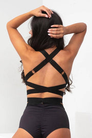 Lunalae cross back fallon pole top in black. Adjustable thick comfy straps. A supportive top.