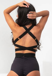 Back of Lunalae Tara high waist shorts worn with the Fallon top with a criss cross adjustable back