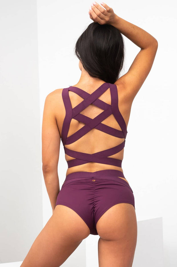 Serena Criss cross back top in Mulberry