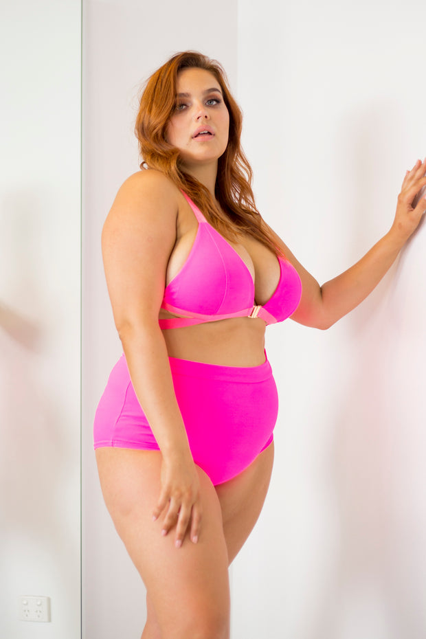 Lunalae Hot pink high waist pole shorts
