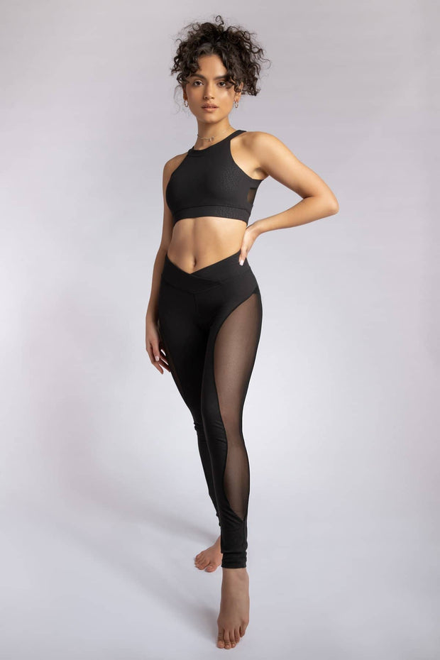 Black Croc Leggings from Creatures Of XIX. Black leggings with a side mesh panel