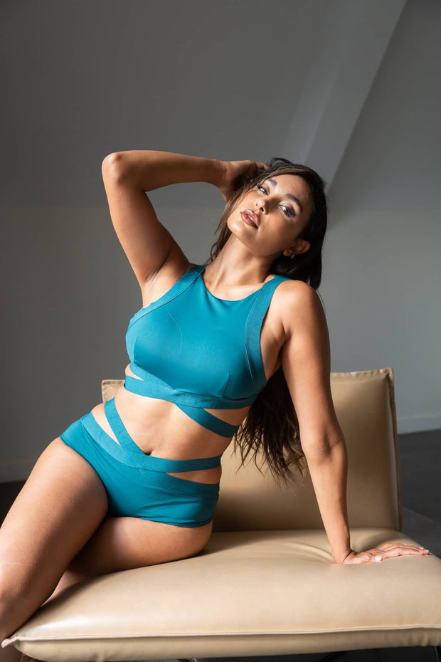 Serena teal top from Lunalae. Criss cross under bust band