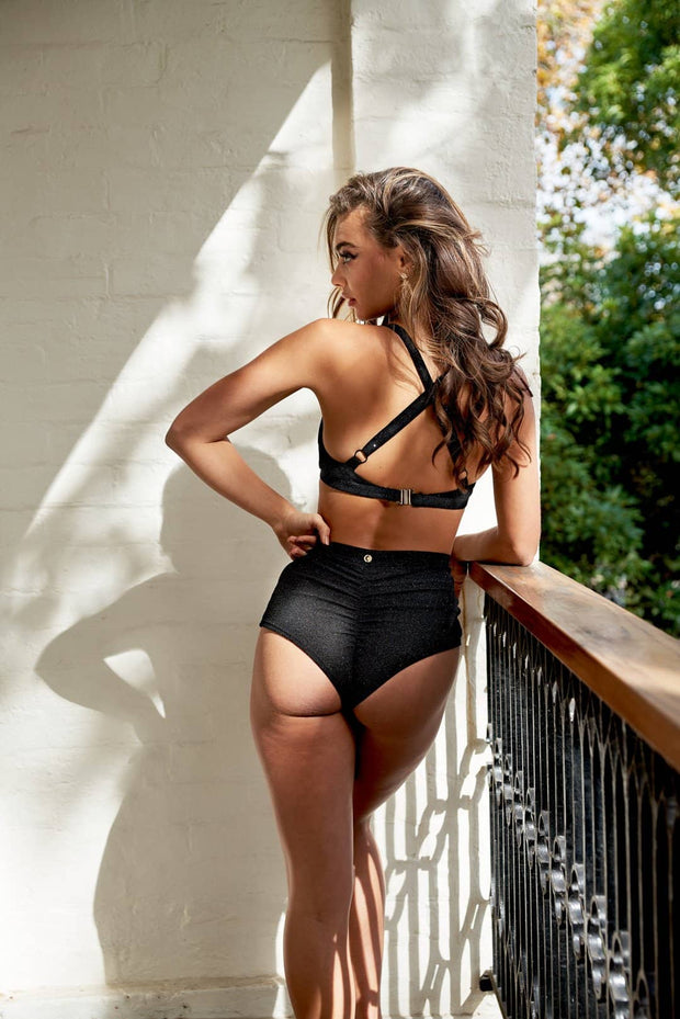 Luminous High Waist Shorts - Black with Black Glitter