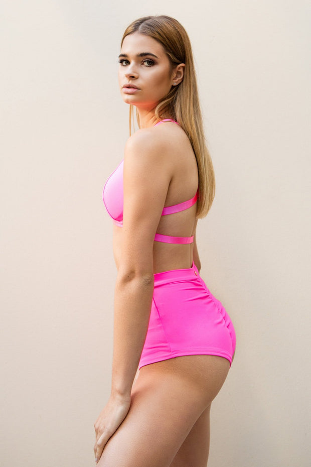 Pink Lunalae high waist pole shorts