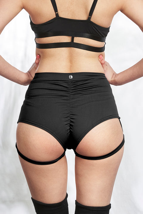 Lure You - High Waisted Garter Shorts - Black