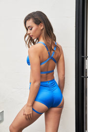 Lure you high waisted garter pole shorts blue