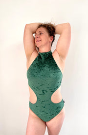 Polehog Halterneck Velvet Bodysuit - British Racing Green