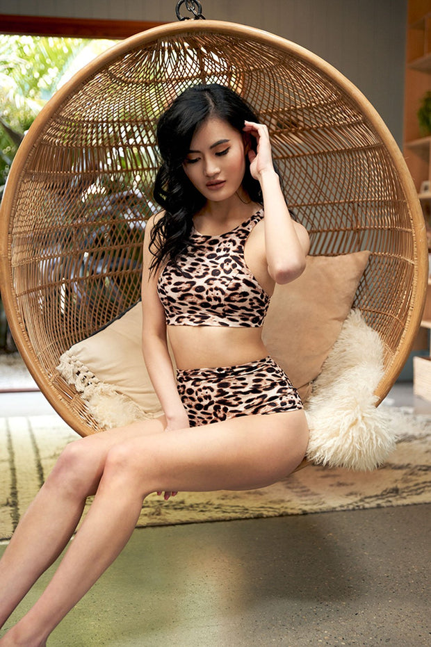 High waist pole shorts leopard print