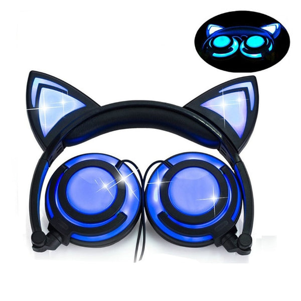 a08f141a73a Foldable Flashing Cat Ear Kids Headphones Gaming Headset Earphone With LED  Light Ear Pods For PC