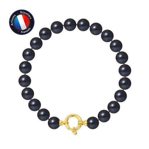 Perlinea PERLINEA- Armband - Reisperlen 8-9 mm Schwarz Tahiti-Woman Jewel-Goldgelb