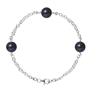 Perlinea NOSIZE / black Perlinea silver bracelet with 3 pretty cultured pearls of 8-9 mm