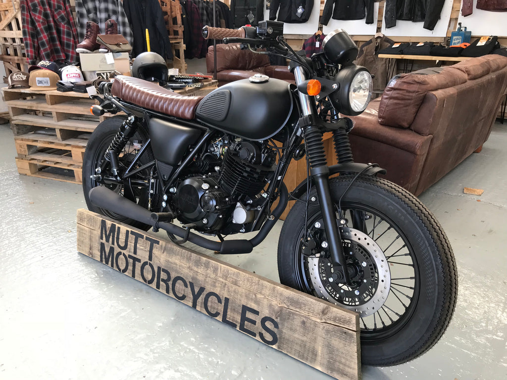 A brand new Mutt Mongrel 250cc 2019- Matt black with brown leather seat