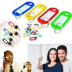 "10 Pack Key Tags with Label Window - Plastic, 2"" X 7/8"" - Assorted Colors - Dazzling Toys"