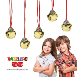 Christmas Jingle Bell Necklaces 12 Pack | Great Christmas Idea | Seasonal Novelty Gold Toned Jingle Bell Friendship Necklaces 12 Pc Set | Kids Fashion Jewelry Set of 12 Party Favors