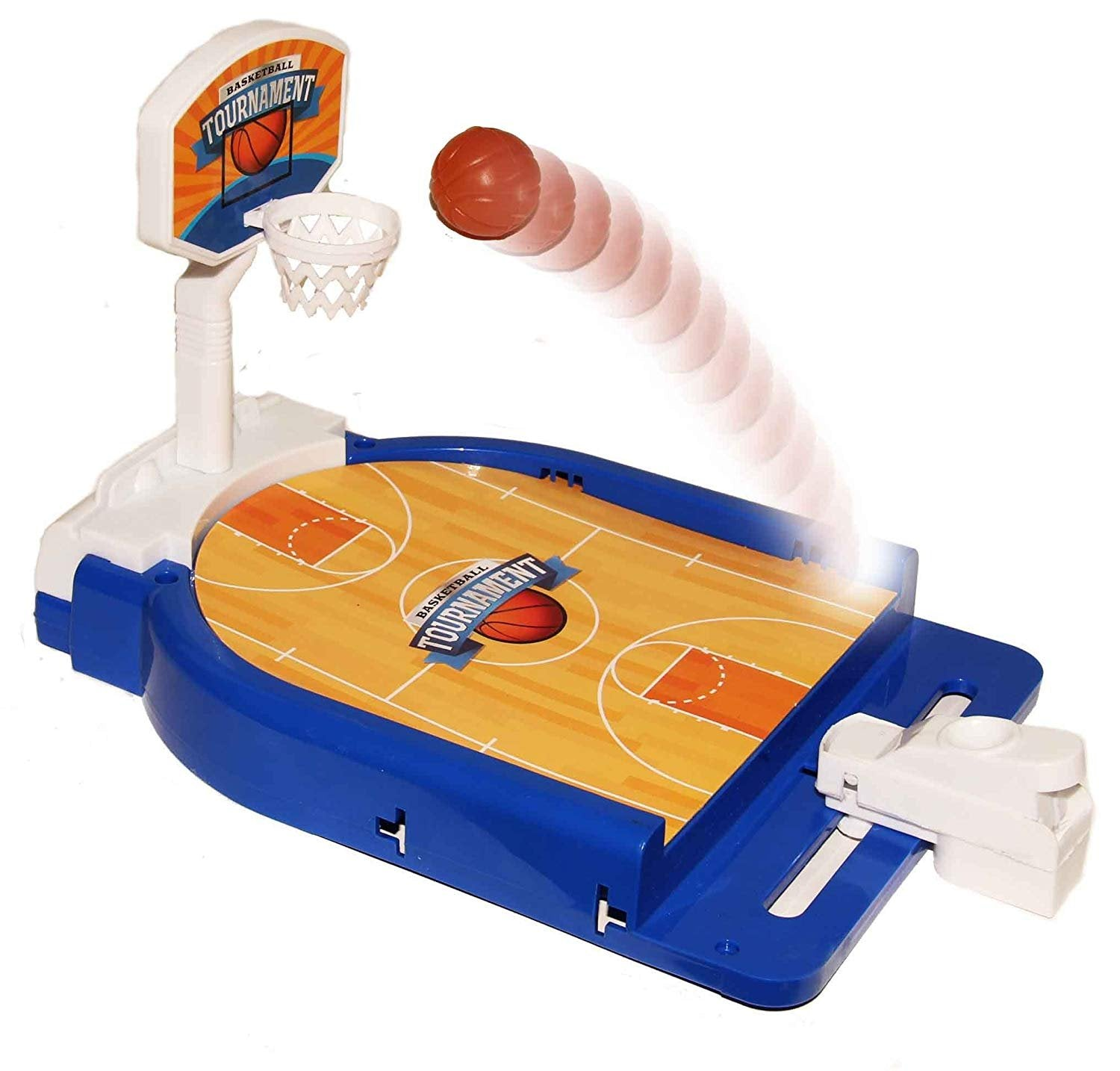 Dazzling Toys Mini Basketball Table Game - Desktop Arcade Hoops Slap Shot Miniature Game for Ages 3 and Up | Classic Mini Basketball Tournament Table Top Games for Sports Fans and Fanatics