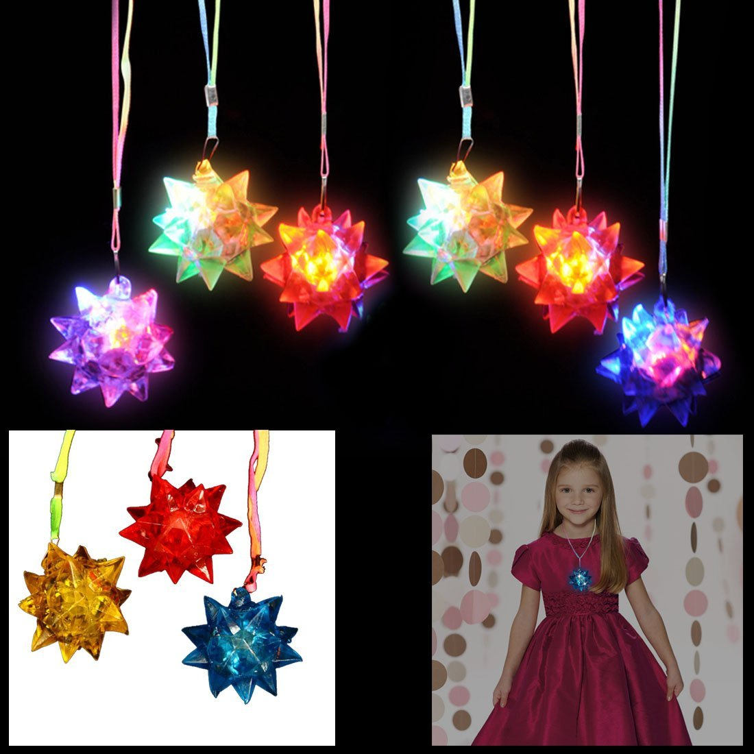 dazzling toys Necklaces LED Blinking Crystal Star Necklace Glow Toy Flash Lights,Red, Blue, Green, Yellow,Set of 24