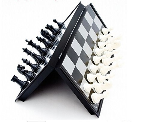 Dazzling Toys Magnetic Travel Chess Set - Portable Folding Mini Black and White Chess Game with Magnetic Pieces - Best Portable Chess Set - Party Favor