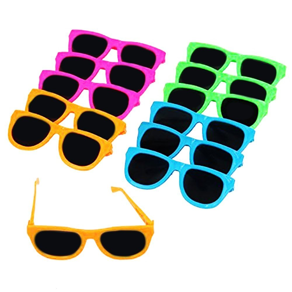 Neon Colored Party Sunglasses | Vintage Party Eyewear,Shades,Sunglasses For Children | Dazzling Toys 24 Pack