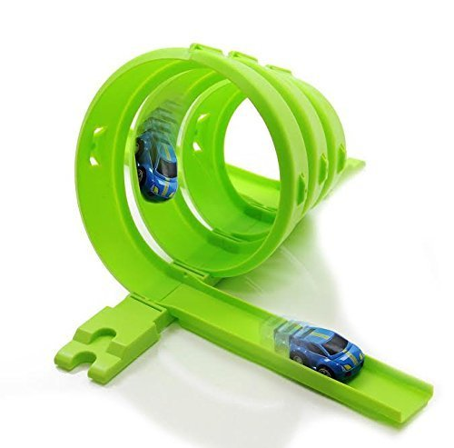 Racing Car and Track Set - Pull Back Speeding Race Car with Easy to Assemmble 6 Piece Spiral Tracks by Dazzling Toys