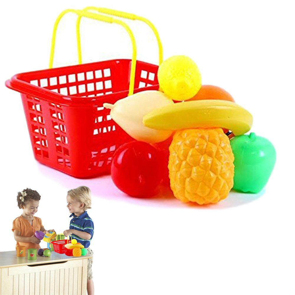 Gift | Dazzling Toys Pretend Play Fruit Set with Shopping Basket for Kids - 9 Piece Set
