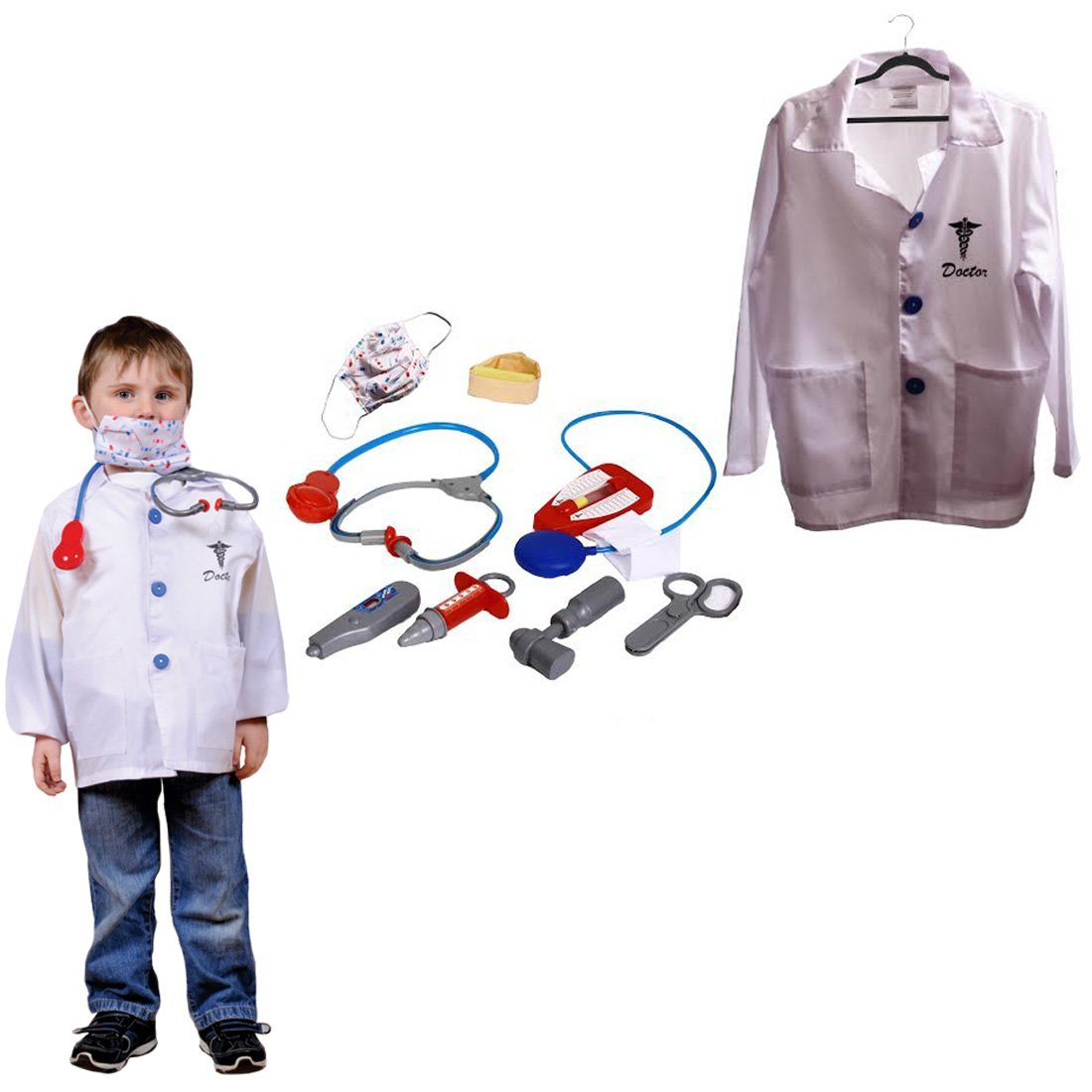 Dazzling Toys Christmas Costume Kids Pretend Play Doctor Costume Set with Accessories
