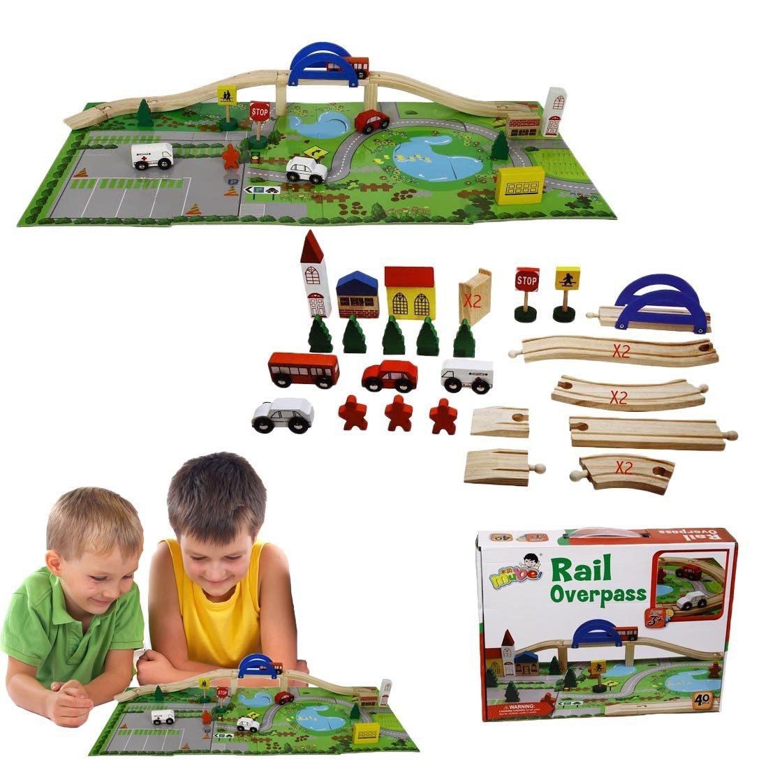Christmas Gift | Wooden Vehicle Set with Bridge and Puzzle Mat | Fun for All Ages | Dazzling Toys