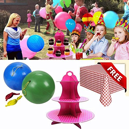 Must Have Party Set! Dazzling Toys Party Supplies Set: 50 Punch Balloons, Cupcake Holder and 6 Checkered Tablecloth.