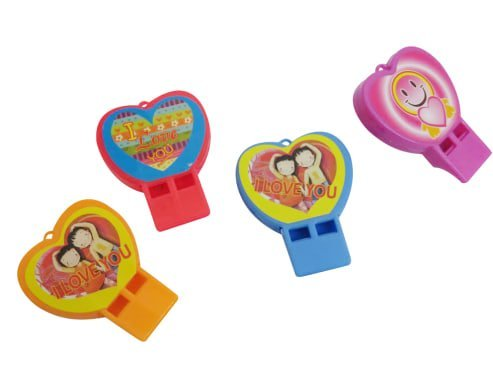 Valentine's Pack of 24 Colored Shaped Whistles | Dazzling Toys Heart Shaped Whistles | Assorted Designs