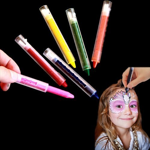 Multicolor Face Painting Kit - Pack of 12 Bright Makeup Crayon Sticks for Masquerades | Halloween | Birthday Parties | Parades - 12 Count Kids Creative Body Facial Paint - 6 Color Assortment