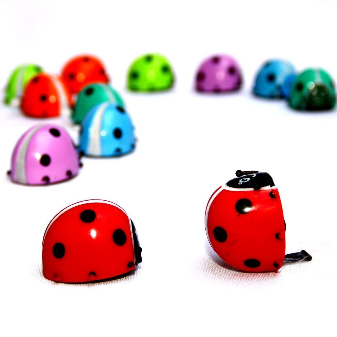 Dazzling Toys Flipping Wind-up Lady Bugs - 12 Pack - Bulk. Great for parties and Favor bags